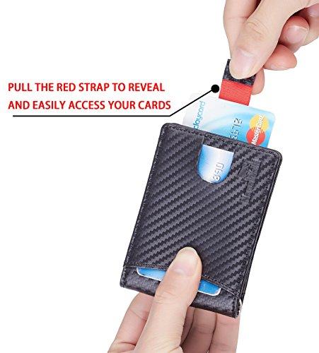 NapaWalli RFID Blocking Bifold Slim Genuine Leather Thin Minimalist Front Pocket Wallets for Men Money Clip (Carbon Fiber Leather Black) by NapaWalli (Image #1)