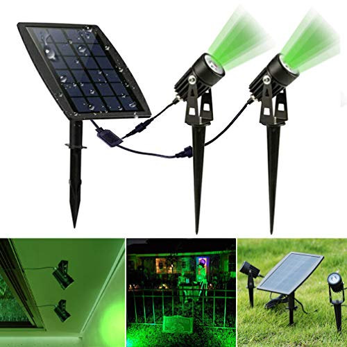 DLLT Led Solar Spot Lights Outdoor, Waterproof Powered Landscape Solar Spotlight Security Tree Lamps Auto On/Off for Outdoor,Garden,Backyard,Driveway(Green)
