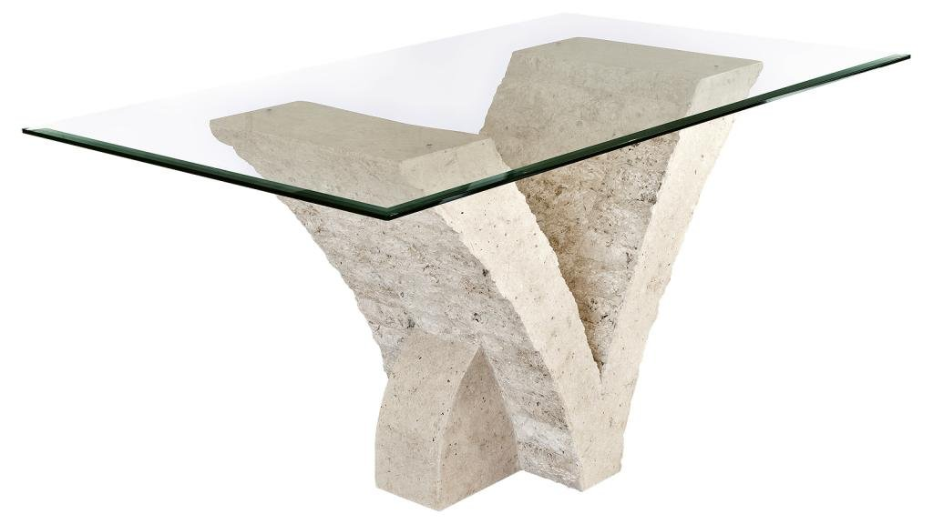 Seagull Dining Table with Fine Mactan Stone Base and Tempered