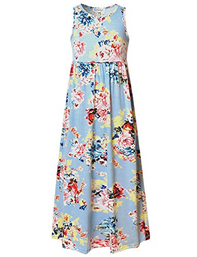 Perfashion Cute Flowy Maxi Dresses for Girls Summer Party Prom Formal