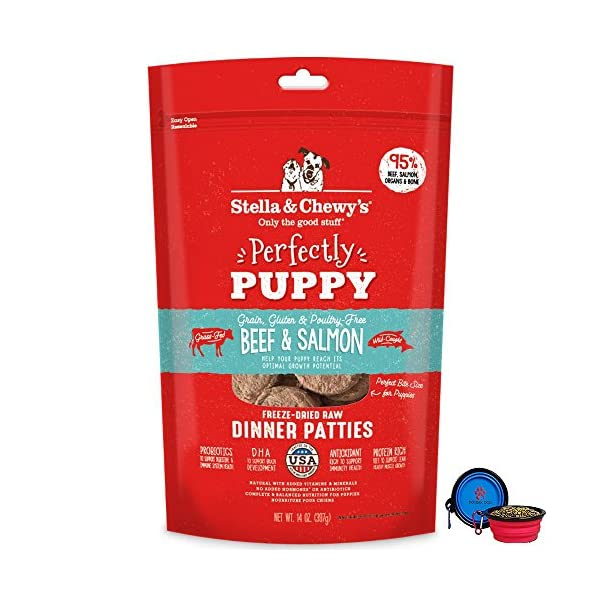 Stella & Chewy's Freeze Dried Dog Food Patties,Snacks Perfectly Puppy 14 Oz Bag With HotSpot Pets Food Bowl – Made in USA (Beef & Salmon)