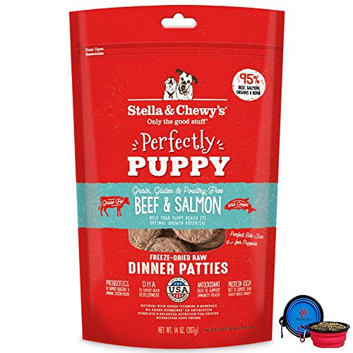Stella Chewy s Freeze Dried Dog Food Patties,Snacks Perfectly Puppy 14 Oz Bag With HotSpot Pets Food Bowl – Made in USA