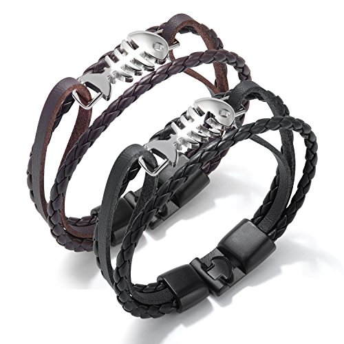 Fate Love Multilayer Braided Leather Bangle Skeleton Fish Bone Wrap Cuff Bracelet for Men Women, Set of (Love Braided Leather Necklace)