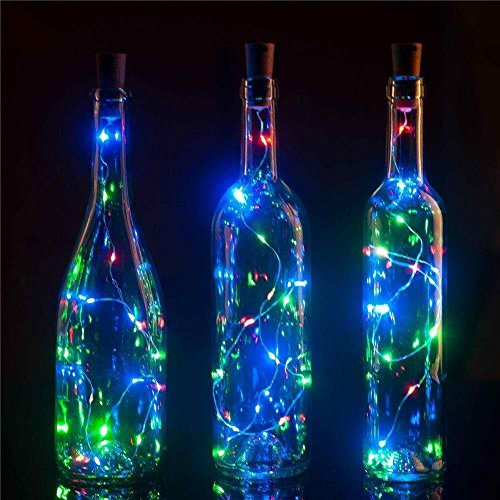 Bottle Cork Lights, [78 inch/ 2M] 20 LED String Lights [Rainbow] Perfect for Wine Bottle DIY, Party, Table Decor, Christmas, Halloween, Wedding Centerpieces and More! ()