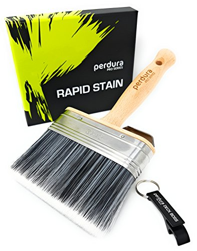 Perdura Rapid Stain Deck Stain Brush Fence Floor Applicator - 5 inch Paint Brush - Stain Seal and Paint Fast! - Outlasts Other Paint Brush Tools - Water and Oil - Stain Wood Epoxy
