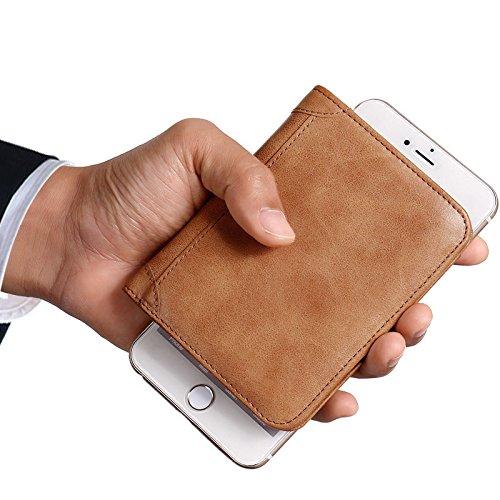 TENGGO Men Es 3 Faltbare Echte Leder Geldbörse Kurze Vertikale Billfold Id Kreditkarteninhaber-Kaffee Kaffee