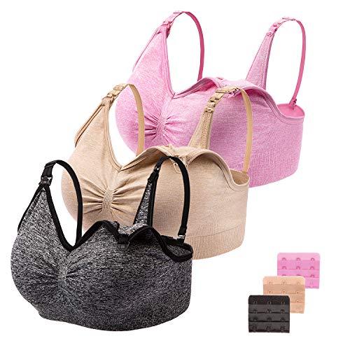 JAROLX 3-Pack Women's Nursing Bras Maternity Seamless Bra Breastfeeding Sleep Bra with Remove Bra Pads Extenders (L Fit 36DD 38A 38B 38C 38D 40A 40B, Black Beige Pink)