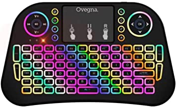 Ovegna i10: Mini Teclado inalámbrico de 2.4Ghz, QWERTY español, inalámbrico ergonómico con Panel táctil - para Smart TV, Mini PC, HTPC, Consola, PC ...