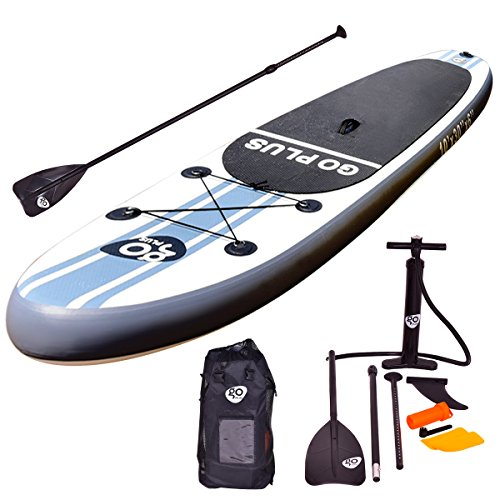 Goplus Inflatable 10' SUP Stand Up Paddle Board Package w/ 3 Fins Adjustable Paddle Pump Kit Carry Backpack, 6'' Thick by Goplus