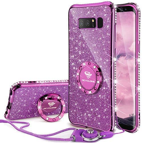Galaxy Note 8 Case, Glitter Luxury Cute Phone Case Girls with Kickstand, Bling Diamond Rhinestone Bumper with Ring Stand Sparkly Protective Samsung