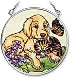 Amia Hand Painted Glass Suncatcher with Dog and Cat Design, 3-1/2-Inch Circle