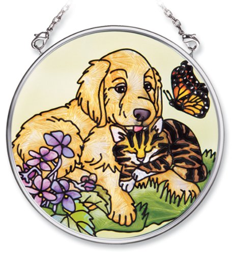 Amia Hand Painted Glass Suncatcher with Dog and Cat Design, 3-1/2-Inch Circle (Suncatcher Dog)