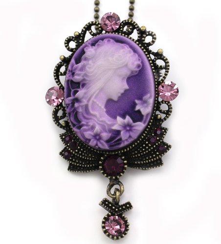 Lavender Purple Cameo Pendant Necklace Charm Rhinestones Fashion Jewelry