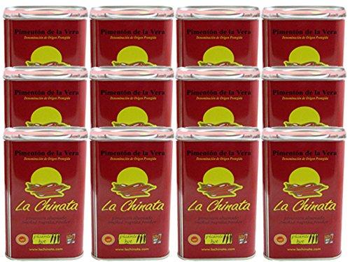 La Chinata Pimenton de la Vera Picante DOP (Hot Smoked Spanish Paprika Powder) Food Service Size (Case of 12 Tins) by La Chinata