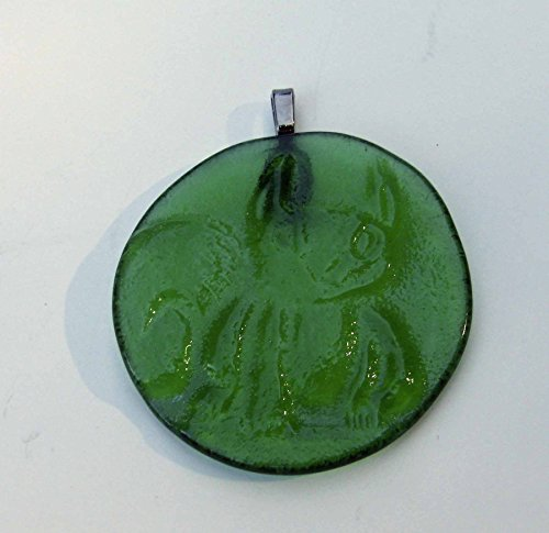 Green Squirrel Handmade Recycled Sprite Bottle Bottom Sun Catcher Ornament (Green Sprite)