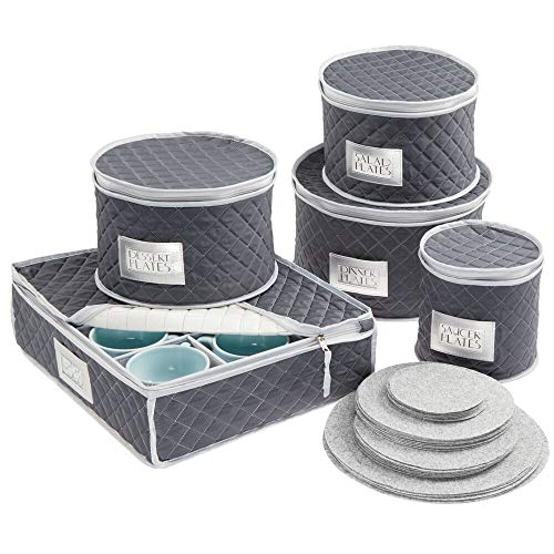 mDesign Quilted Dinnerware Storage 5 Piece Set for Protecting and Transporting Fine China, Dishes, Plates, Cups - Holds Service for 12 - Felt Protectors Included with Each Round Bin - Navy Blue/Gray ()