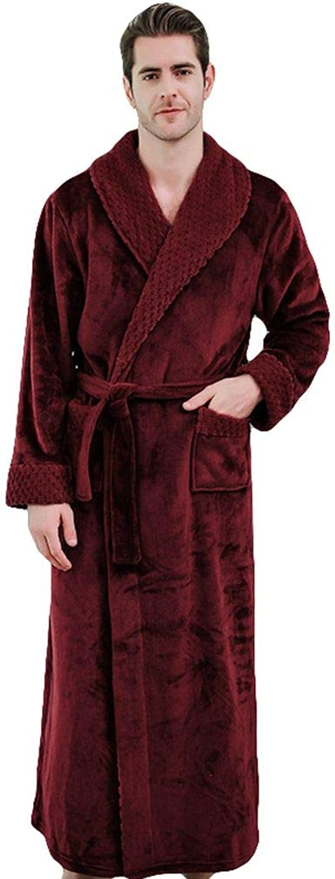 Liveinu Mens Flannel Sleepwear Bathrobe Long Sleeve Kimono Robe