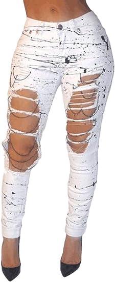 Memories Love Women's High Waist Distressed Pencil Pants Denim Jeans Pants