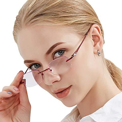 DOOViC Diamond Cut Edge Purple Lenses Rimless Readers Elegant Reading Glasses for Women Fatigue-Resistant New Fashion Style +1.50 ()