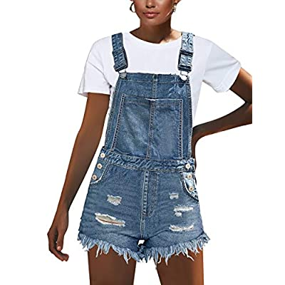 luvamia Women's Ripped Short Overalls Adjustable Denim Bib Overall Shorts Romper at Women's Clothing store