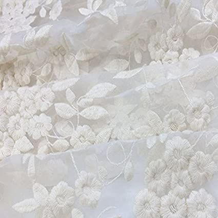 Amazon.com: Ivory/White Lace FabricOrganza Wedding Fabric French ...