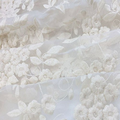 Ivory/White Lace FabricOrganza Wedding Fabric French Embroidered Lace Bridal Lace Fabric Wedding Dress Lace Apparel Curtain Fabric Veil Lace