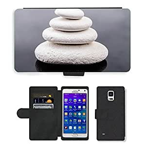 Hot Style Cell Phone Card Slot PU Leather Wallet Case // M00152143 Stone Zen White Spa Rock // Samsung Galaxy Note 4 IV