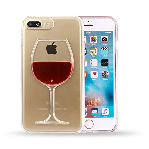3D Red Wine Glass Transparent Hard Case Cover Shell for iPhone 7 Plus (5.5 Inch) + Screen Protection Film Guard (for iPhone 7 Plus)