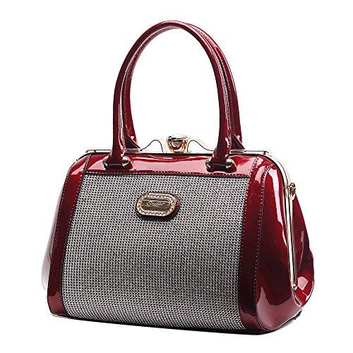 Brangio Italy Top Handle Rough Diamond Vegan Leather Women's Satchel Tote Shoulder Bag Burgundy
