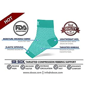 SB SOX Compression Foot Sleeves for Men & Women - BEST Plantar Fasciitis Socks for Plantar Fasciitis Pain Relief, Heel Pain, and Treatment for Everyday Use with Arch Support (Green, Medium)