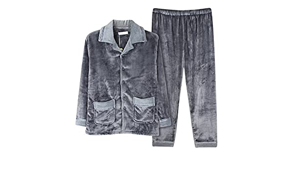 Man coral fleece Pajama set in autumn and winter/Thick flannel clothing in winter/ comfortable pyjamas at Amazon Mens Clothing store: