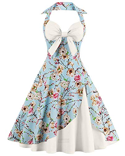 ANCHOVY Women Vintage 50s Halter Dresses Floral Audrey Hepburn Bowknot Tea Dress C82 (White 02, M)
