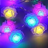 Rose Battery Operated LED Christmas String Lights - RGBY, 2 Work Modes, 7.3ft Length, 20pcs Flowers for Christmas, Holiday, Party, Event Decorative Lighting