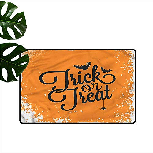 (DONEECKL Bedroom Doormat Vintage Halloween Trick Treat Quick and Easy to Clean W20)