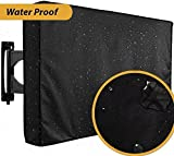 55 TV Cover,TV Outdoor Cover 52''-55'' with Bottom Black TV Weatherproof Covers Scratch Resistant Liner and Dust-Proof Material Protect Television