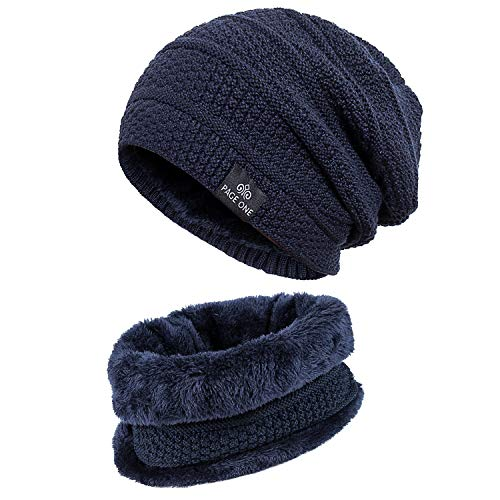 PAGE ONE Mens Winter Warm Knit Hat Scarf Set Soft Fleece Lined Stretch Slouchy Skully Striped Beanie Men - Beanie Lined Striped