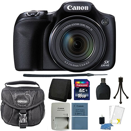 Canon PowerShot SX530 HS 16MP Wi-Fi Digital Camera (Black) + 16GB Memory Card + Wallet + Reader + Extra Battery + Case + 3pc Cleaning Kit + Mini Tripod