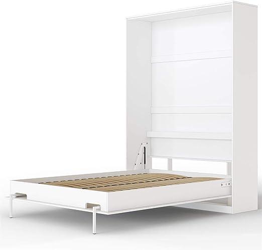 SMARTBett Basic Cama abatible Cama Plegable Cama de Pared (Blanco, 140x200 cm Vertikal)