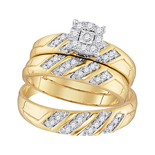 Diamond Cluster Bridal Set - Jewels By Lux 10kt Yellow Gold