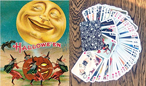 FlonzGift Halloween Playing Cards (Poker Deck 55 Cards All Different) Vintage Halloween Cards Reprint]()