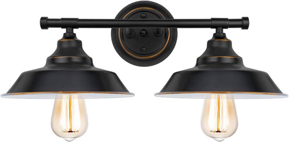 2-Light Bathroom Vanity Light Industrial Wall Sconce Bathroom Lighting Fixture Black Baking Paint with Highlight