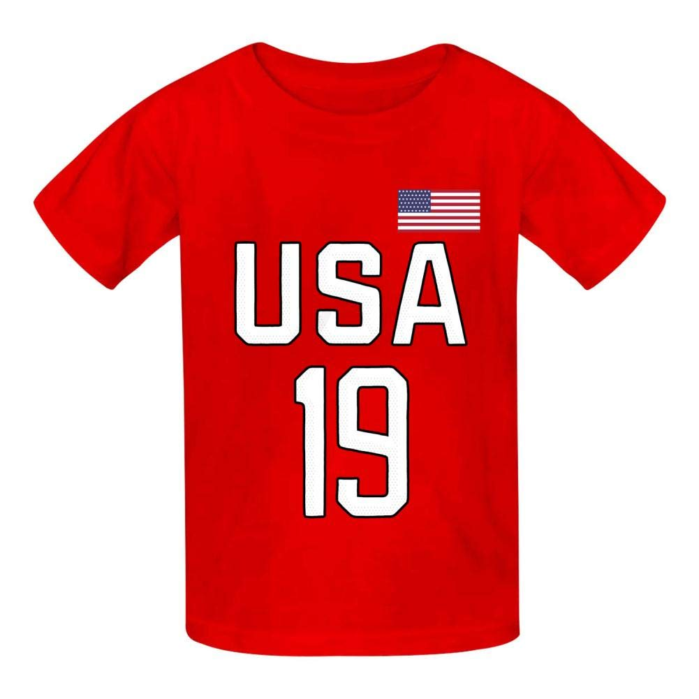 Dan-Wood USA Champion Number Jersey Youth Kids T-Shirts Cotton Fashion Graphic Print Tee