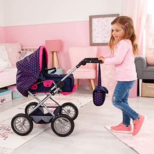 Bayer Design 15054AB Landau Poupée Grande avec lit de voyage, porte poupée, accessoires plastique poupée, licorne, bleu, rose
