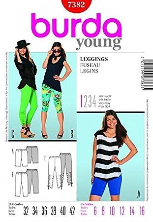 Burda Damen Schnittmuster Easy Young Fashion-Leggings 7382 Größen ...