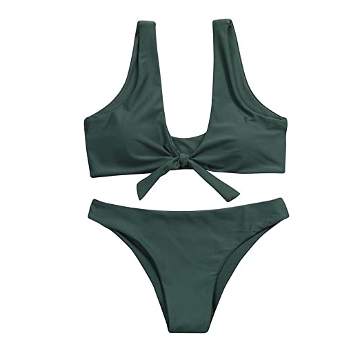 776799b144ed5 Women s Sexy Detachable Padded Cutout Push Up Bikini Set Two Piece Solid  Color Swimsuit Army Green