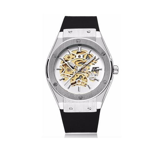 espritshopping® Reloj Automático para Hombre Blanca Watch Replica Luxe Mecanique esqueleto acero deporte Skeleton: Amazon.es: Relojes