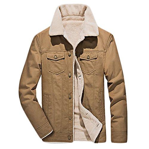 Pockets Men's Jackets Lightweight Coats MU2M Khaki Fleece Winter Outdoor Lined t6nSq
