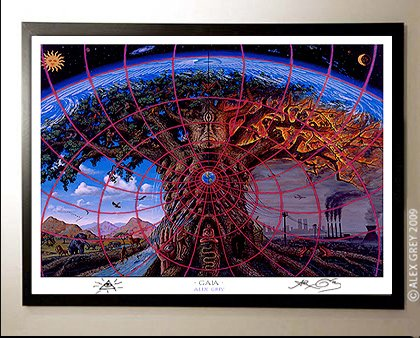 Amazon com: Framed Gaia Poster Signed by Alex Grey: Prints