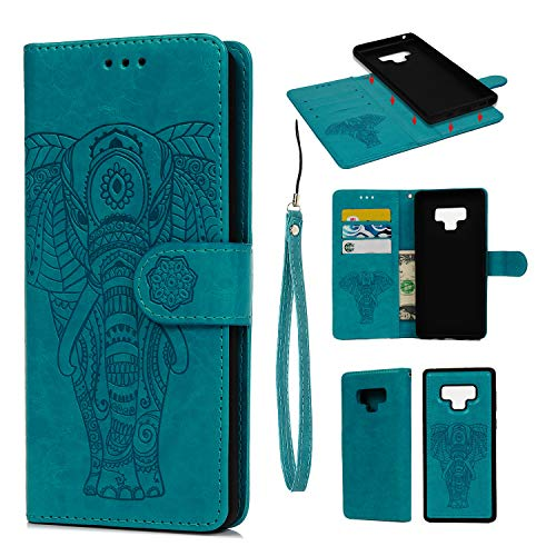 Galaxy Note 9 Case, Mavis's Diary Two-in-One Separation Wallet Case Fashion Premium PU Leather Wallet Embossed Elephant Floral Flip Shockproof Drop Resistant Case with Soft TPU Inner Cover - Blue - Elephant Embossed