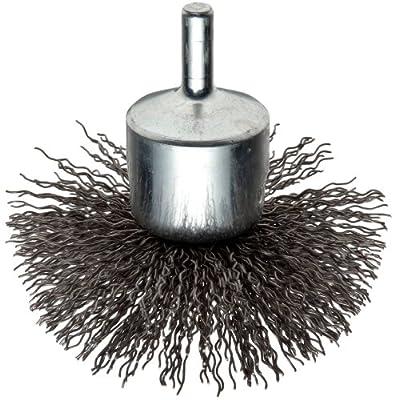 "Weiler Circular Flared Wire End Brush, Round Shank, Steel, Crimped Wire, 3"" Diameter, 0.02"" Wire Diameter, 1/4"" Shank, 16000 rpm (Pack of 1)"